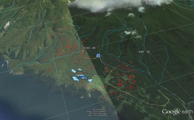11B02 7月の行動(赤い点がヒグマがいた位置を示しています)