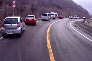 写真3. 急カーブのクマ渋滞. 本日三度目・・・